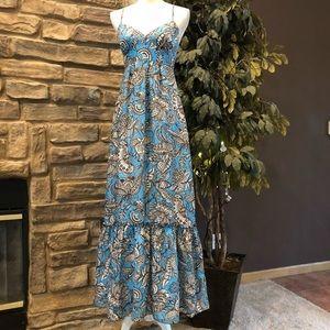 Trina Turk Silk Print Maxi Dress Pleat drop hem 2